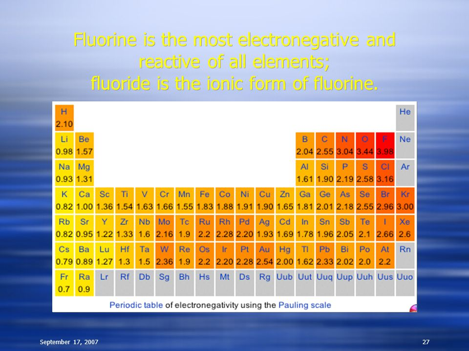September 17, 200727 Fluorine is the most electronegative and reactive of all elements; fluoride is the ionic form of fluorine. Fluorine is the most e