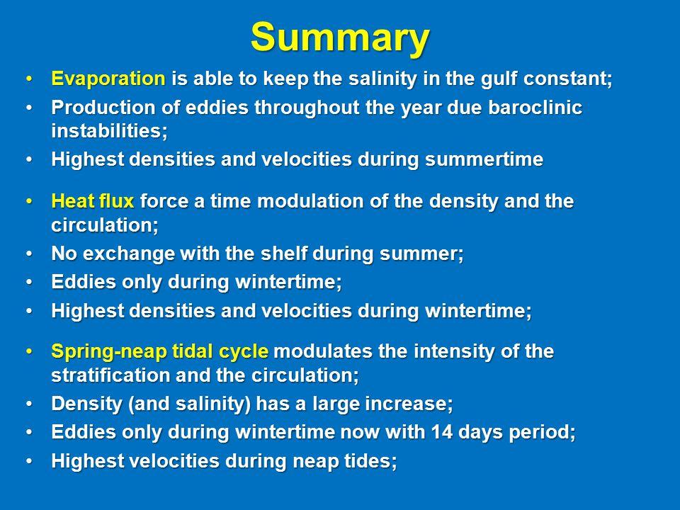 Summary Evaporation is able to keep the salinity in the gulf constant;Evaporation is able to keep the salinity in the gulf constant; Production of edd
