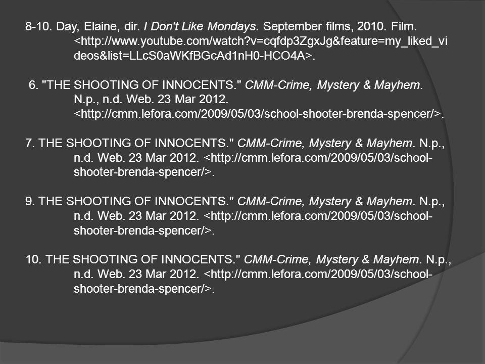 8-10. Day, Elaine, dir. I Don t Like Mondays. September films, 2010.