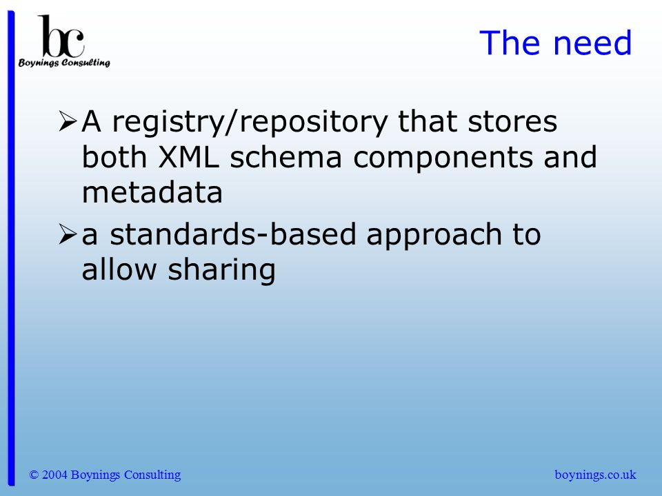 © 2004 Boynings Consultingboynings.co.uk Registry requirements