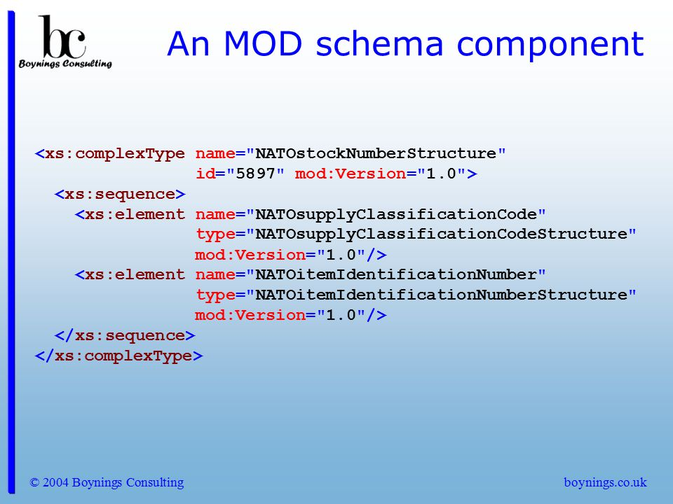 © 2004 Boynings Consultingboynings.co.uk An MOD schema component <xs:complexType name=