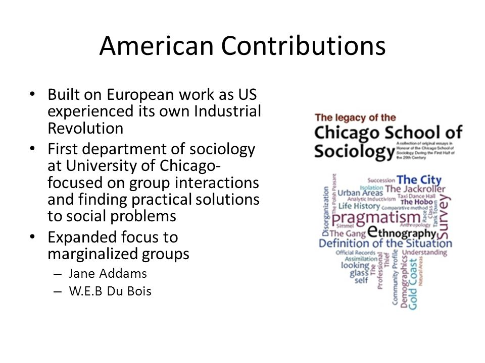 American Contributions Built on European work as US experienced its own Industrial Revolution First department of sociology at University of Chicago- focused on group interactions and finding practical solutions to social problems Expanded focus to marginalized groups – Jane Addams – W.E.B Du Bois