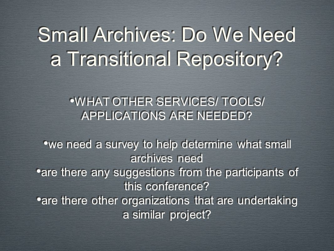 Small Archives: Do We Need a Transitional Repository.