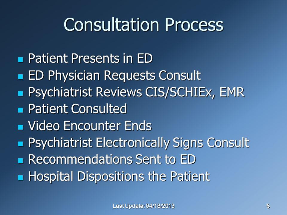 Last Update: 04/18/20136 Consultation Process Patient Presents in ED Patient Presents in ED ED Physician Requests Consult ED Physician Requests Consult Psychiatrist Reviews CIS/SCHIEx, EMR Psychiatrist Reviews CIS/SCHIEx, EMR Patient Consulted Patient Consulted Video Encounter Ends Video Encounter Ends Psychiatrist Electronically Signs Consult Psychiatrist Electronically Signs Consult Recommendations Sent to ED Recommendations Sent to ED Hospital Dispositions the Patient Hospital Dispositions the Patient
