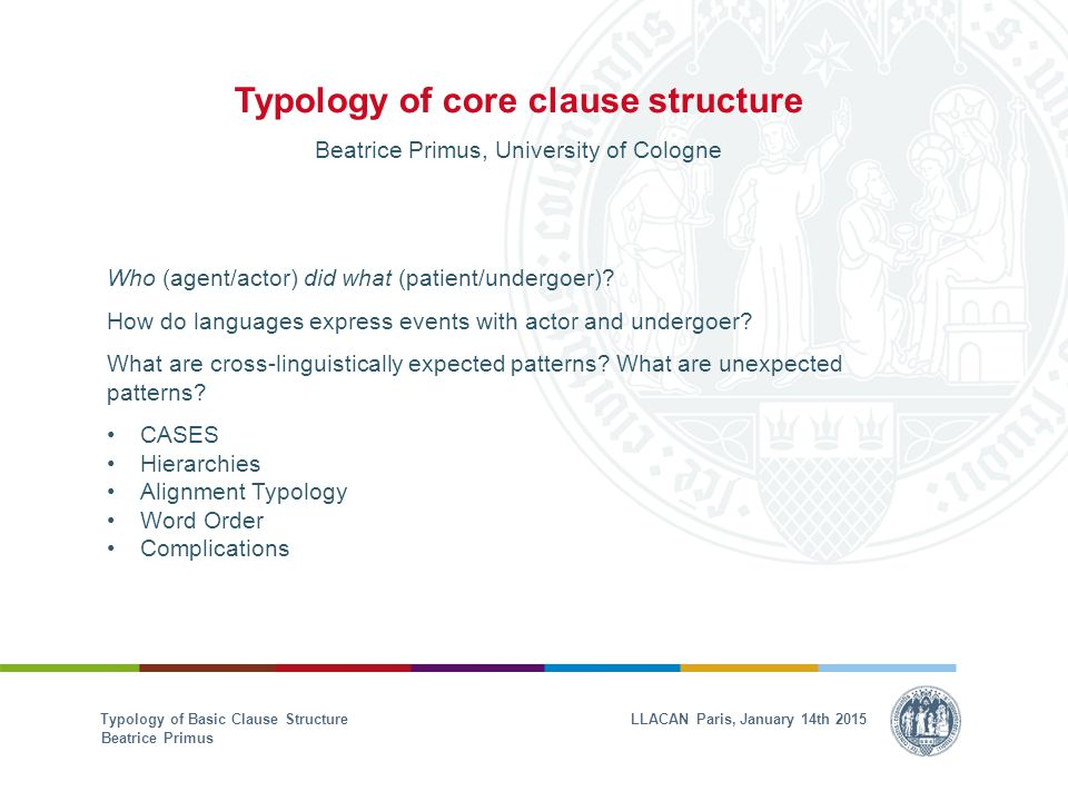 Typology of core clause structure Beatrice Primus, University of Cologne Who (agent/actor) did what (patient/undergoer).