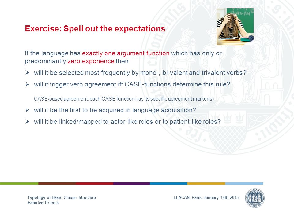 Exercise: Spell out the expectations If the language has exactly one argument function which has only or predominantly zero exponence then  will it be selected most frequently by mono-, bi-valent and trivalent verbs.