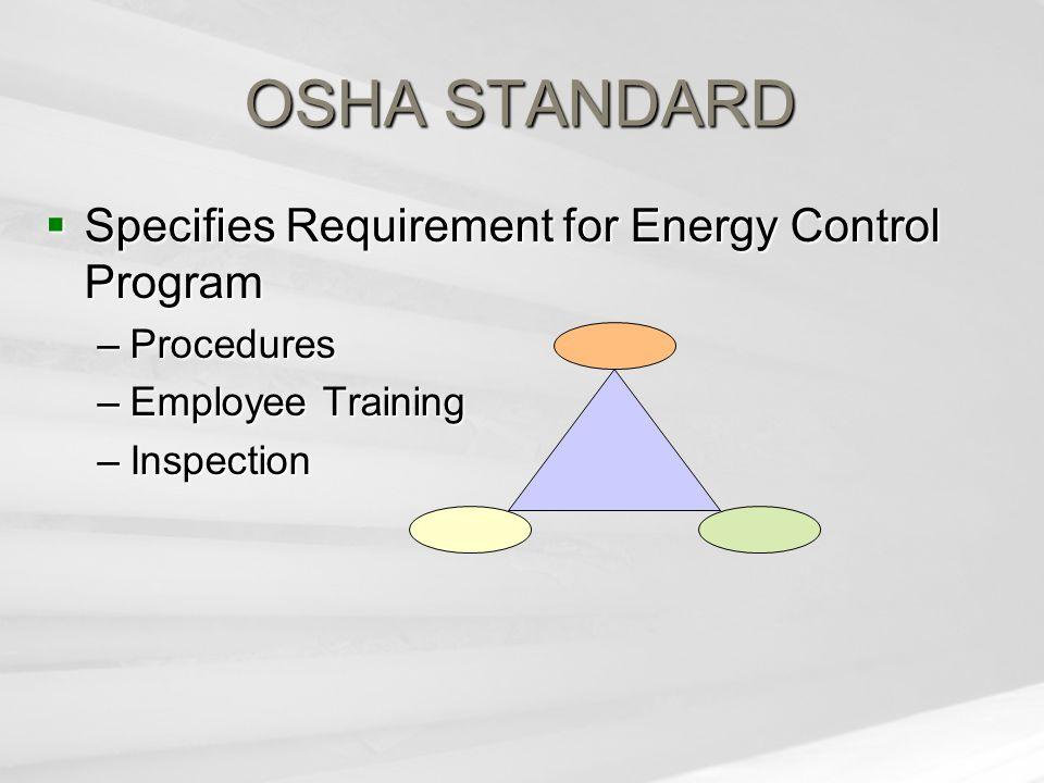 OSHA STANDARD  Specifies Requirement for Energy Control Program –Procedures –Employee Training –Inspection