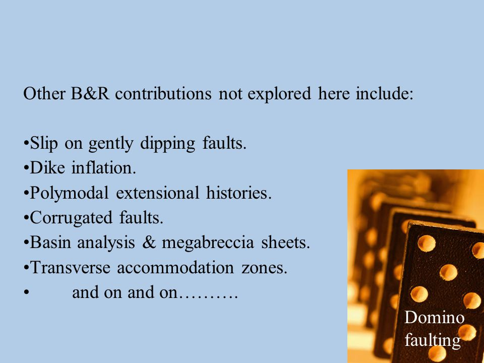 Other B&R contributions not explored here include: Slip on gently dipping faults.
