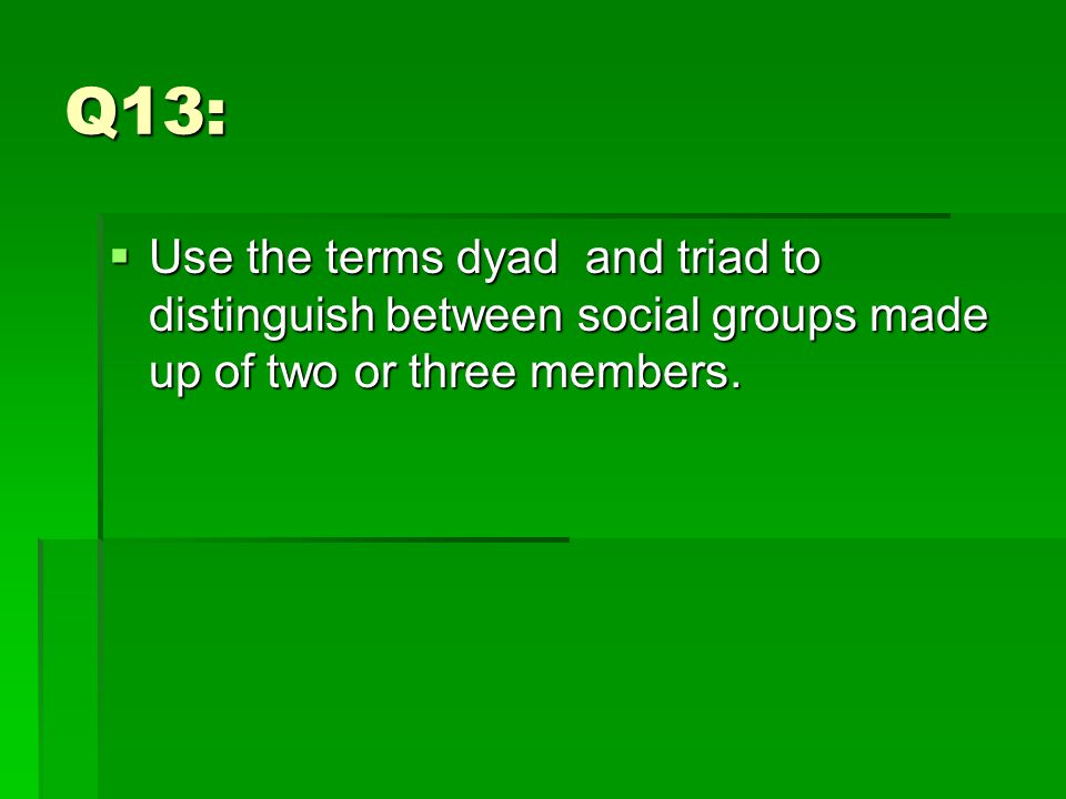 Q13:  Use the terms dyad and triad to distinguish between social groups made up of two or three members.