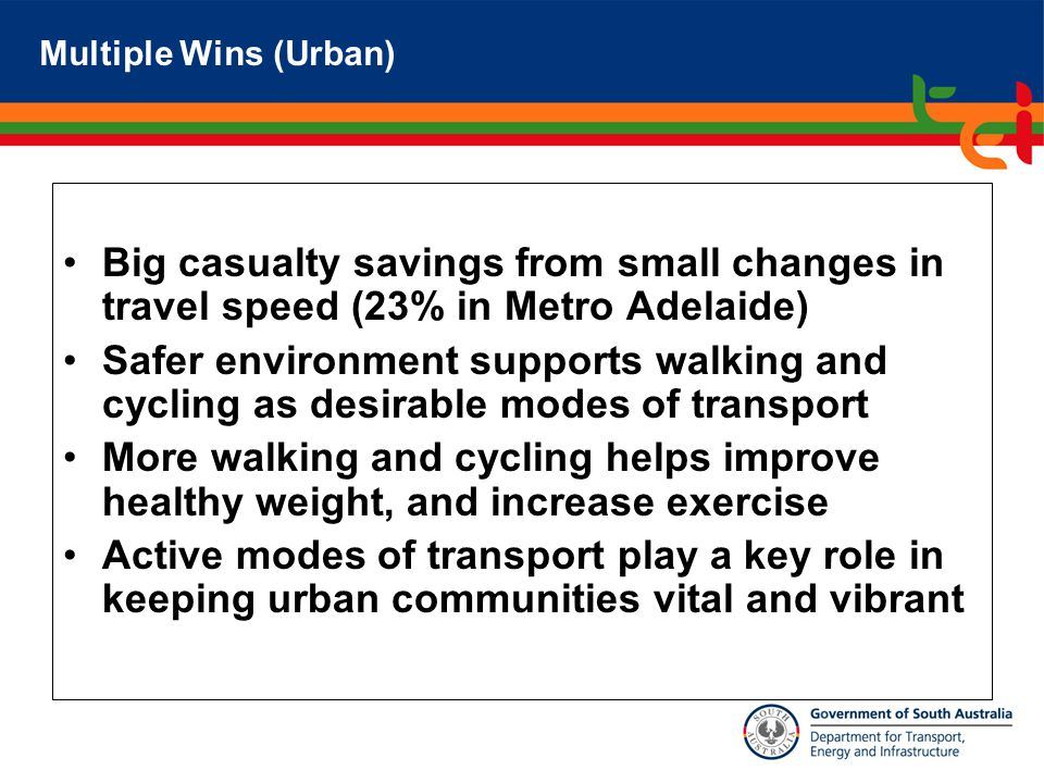 Big casualty savings from small changes in travel speed (23% in Metro Adelaide) Safer environment supports walking and cycling as desirable modes of transport More walking and cycling helps improve healthy weight, and increase exercise Active modes of transport play a key role in keeping urban communities vital and vibrant Multiple Wins (Urban)