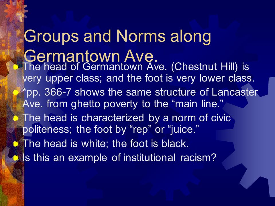 Groups and Norms along Germantown Ave.  The head of Germantown Ave.