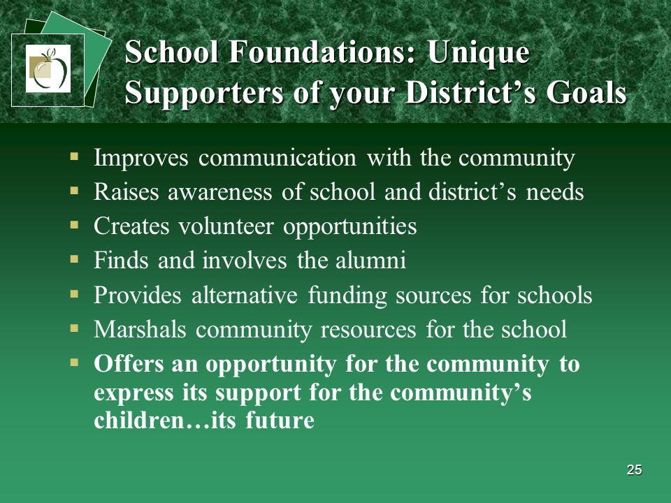 25  Improves communication with the community  Raises awareness of school and district's needs  Creates volunteer opportunities  Finds and involves the alumni  Provides alternative funding sources for schools  Marshals community resources for the school  Offers an opportunity for the community to express its support for the community's children…its future School Foundations: Unique Supporters of your District's Goals