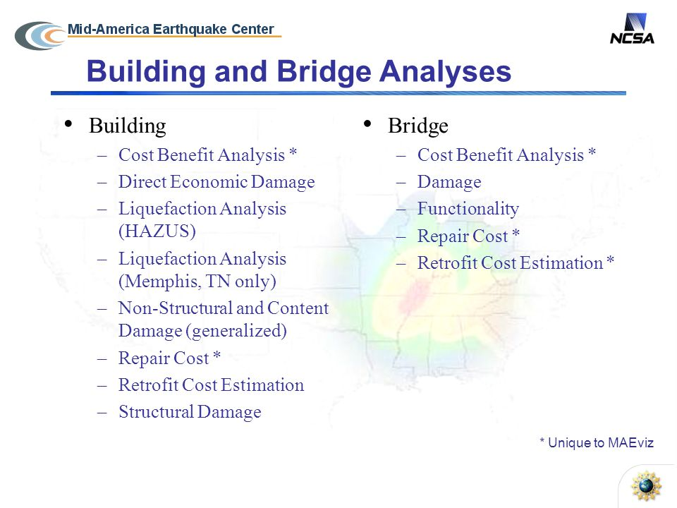 Building and Bridge Analyses Bridge –Cost Benefit Analysis * –Damage –Functionality –Repair Cost * –Retrofit Cost Estimation * Building –Cost Benefit Analysis * –Direct Economic Damage –Liquefaction Analysis (HAZUS) –Liquefaction Analysis (Memphis, TN only) –Non-Structural and Content Damage (generalized) –Repair Cost * –Retrofit Cost Estimation –Structural Damage * Unique to MAEviz