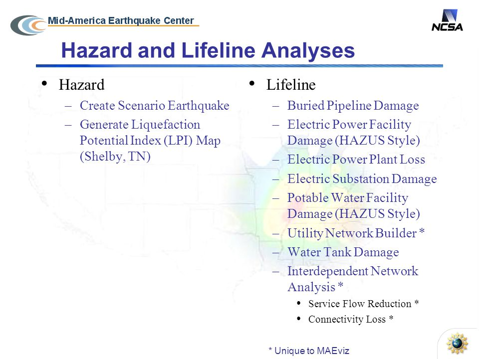 Hazard and Lifeline Analyses Hazard –Create Scenario Earthquake –Generate Liquefaction Potential Index (LPI) Map (Shelby, TN) Lifeline –Buried Pipeline Damage –Electric Power Facility Damage (HAZUS Style) –Electric Power Plant Loss –Electric Substation Damage –Potable Water Facility Damage (HAZUS Style) –Utility Network Builder * –Water Tank Damage –Interdependent Network Analysis * Service Flow Reduction * Connectivity Loss * * Unique to MAEviz