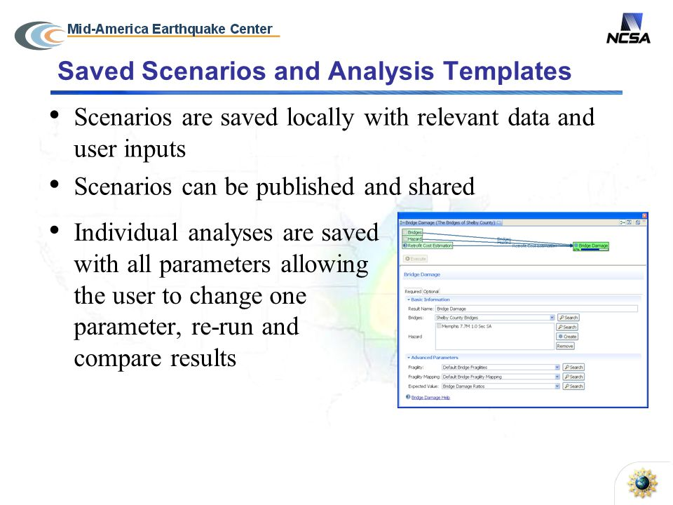 Saved Scenarios and Analysis Templates Scenarios are saved locally with relevant data and user inputs Scenarios can be published and shared Individual analyses are saved with all parameters allowing the user to change one parameter, re-run and compare results