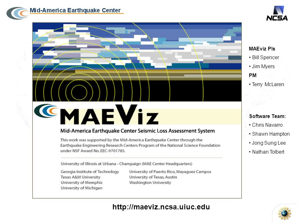 MAEviz PIs Bill Spencer Jim Myers PM Terry McLaren http://maeviz.ncsa.uiuc.edu Software Team: Chris Navarro Shawn Hampton Jong Sung Lee Nathan Tolbert