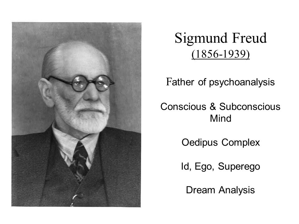 Sigmund Freud (1856-1939) F ather of psychoanalysis Conscious & Subconscious Mind Oedipus Complex Id, Ego, Superego Dream Analysis