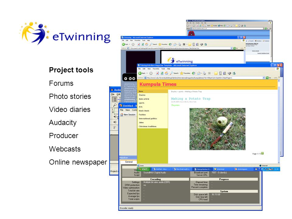 Teacher to teacher My eTwinning Desktop Tools Skype Building the relationship Student to student Forums Email