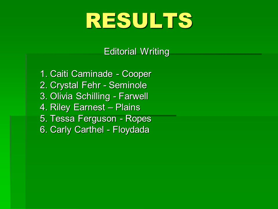 RESULTS Editorial Writing 1. Caiti Caminade - Cooper 2.