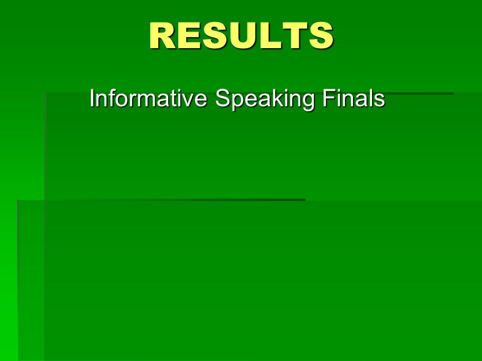 RESULTS Informative Speaking Finals