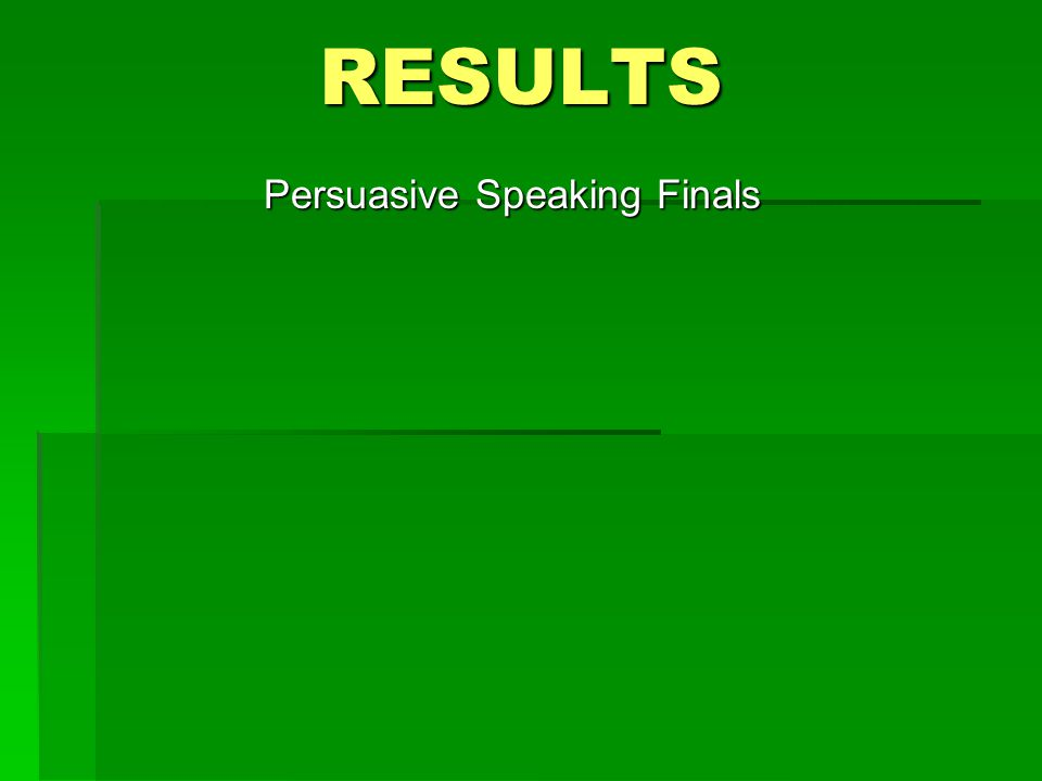 RESULTS Persuasive Speaking Finals