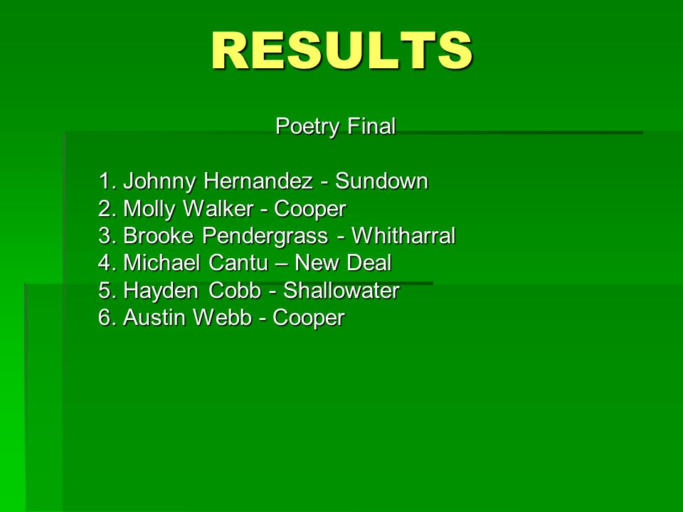 RESULTS Poetry Final 1. Johnny Hernandez - Sundown 2.