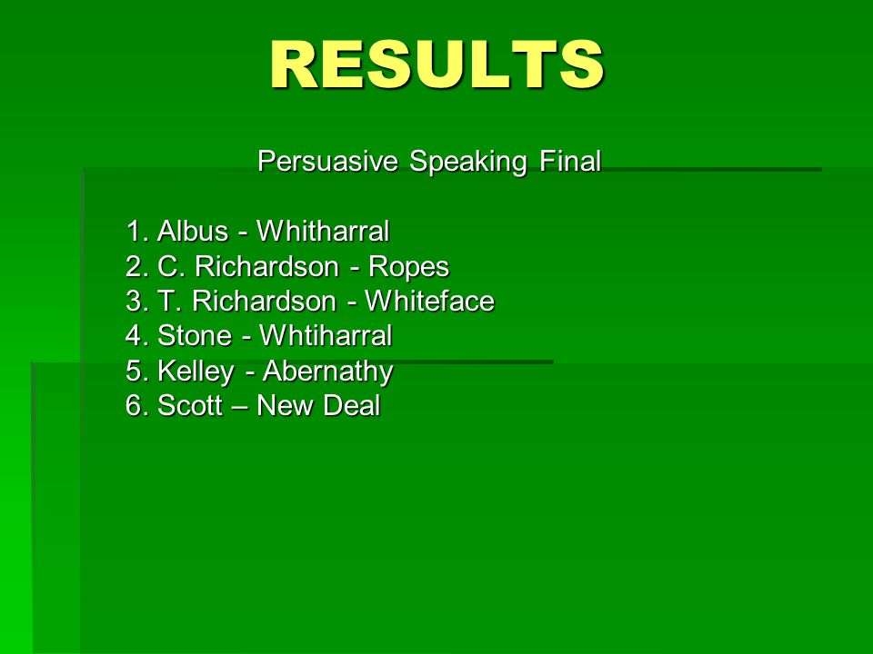 RESULTS Persuasive Speaking Final 1. Albus - Whitharral 2.