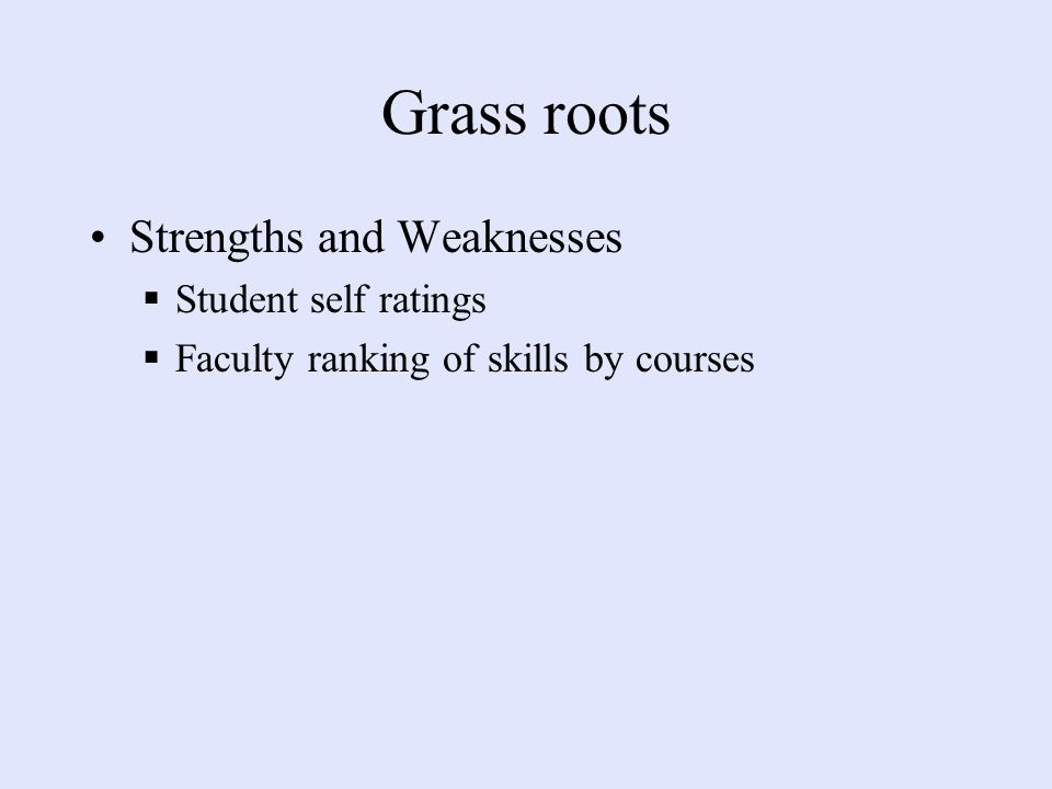 Grass roots Strengths and Weaknesses  Student self ratings  Faculty ranking of skills by courses