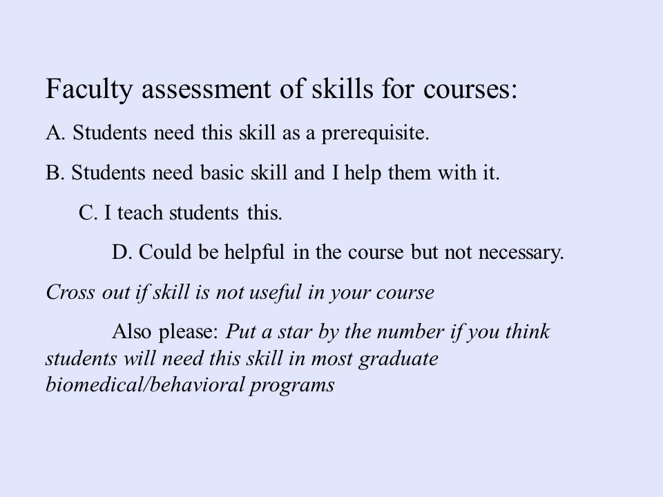 Faculty assessment of skills for courses: A. Students need this skill as a prerequisite.