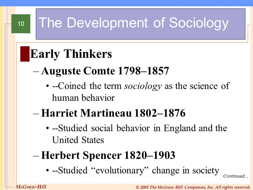 McGraw-Hill © 2005 The McGraw-Hill Companies, Inc. All rights reserved. 10 The Development of Sociology Continued... █Early Thinkers –Auguste Comte 17