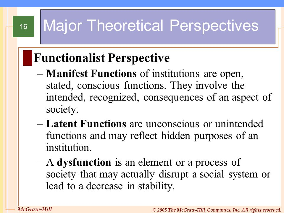 McGraw-Hill © 2005 The McGraw-Hill Companies, Inc. All rights reserved. 16 Major Theoretical Perspectives █Functionalist Perspective –Manifest Functio