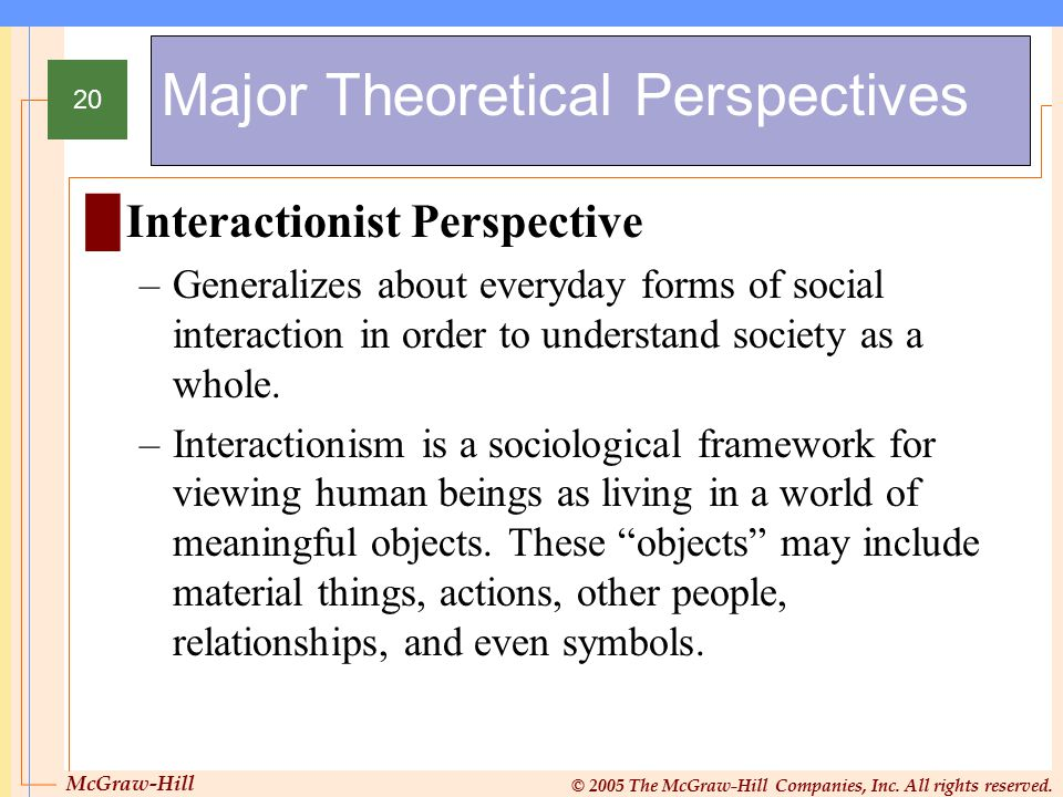 McGraw-Hill © 2005 The McGraw-Hill Companies, Inc. All rights reserved. 20 Major Theoretical Perspectives █Interactionist Perspective –Generalizes abo
