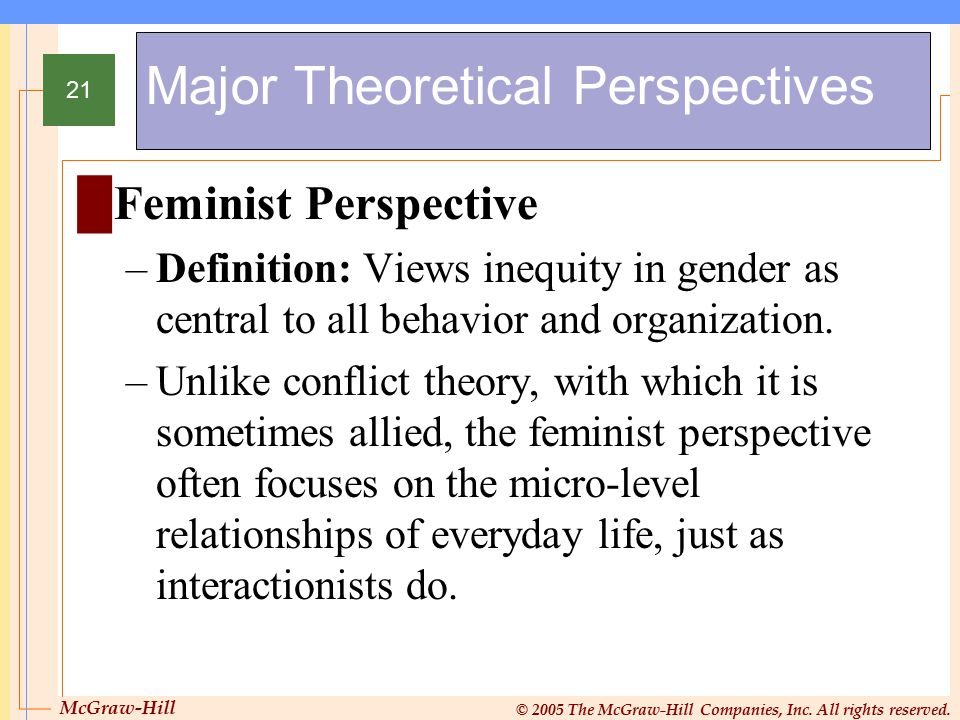 McGraw-Hill © 2005 The McGraw-Hill Companies, Inc. All rights reserved. 21 Major Theoretical Perspectives █Feminist Perspective –Definition: Views ine