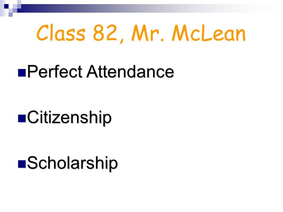 Perfect Attendance Citizenship Scholarship Class 81, Mr. Venema