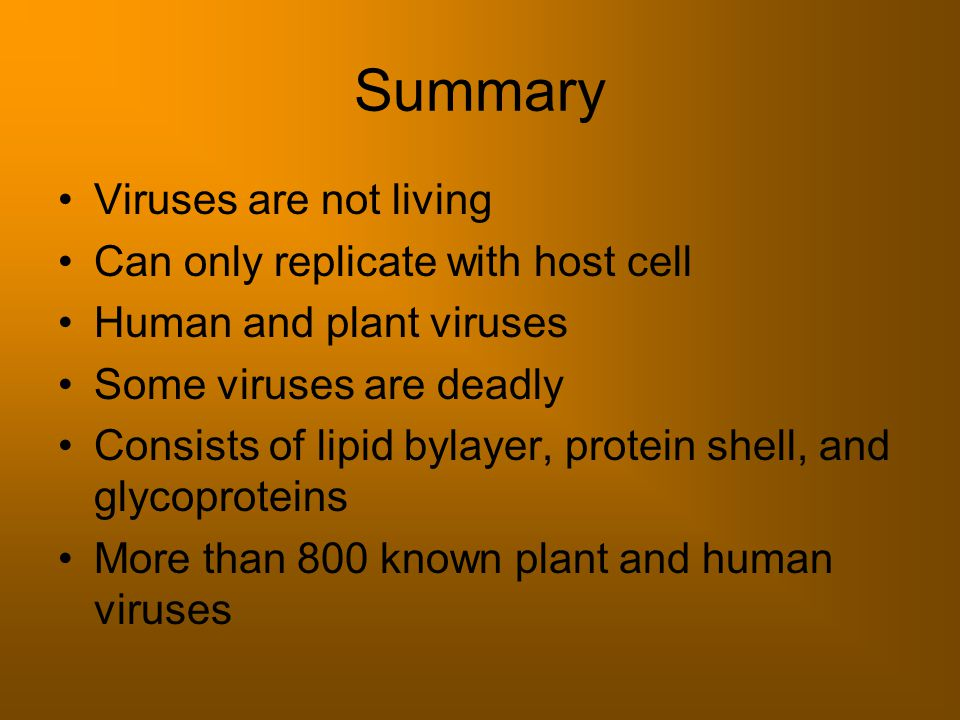 Summary Viruses are not living Can only replicate with host cell Human and plant viruses Some viruses are deadly Consists of lipid bylayer, protein shell, and glycoproteins More than 800 known plant and human viruses