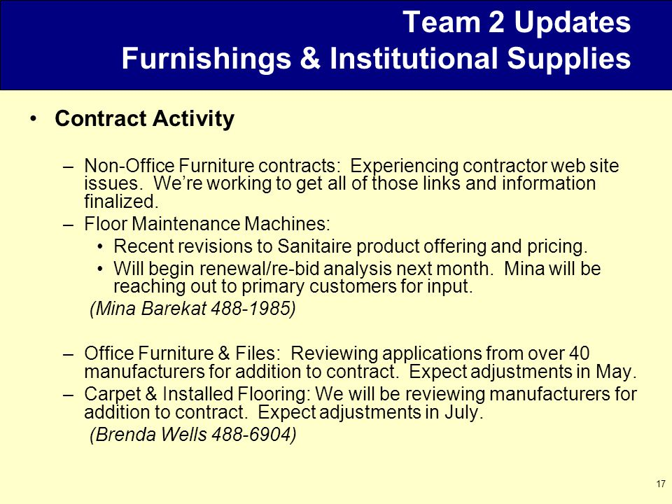 17 Team 2 Updates Furnishings & Institutional Supplies Contract Activity –Non-Office Furniture contracts: Experiencing contractor web site issues.