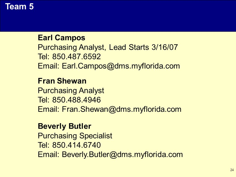 24 Earl Campos Purchasing Analyst, Lead Starts 3/16/07 Tel: 850.487.6592 Email: Earl.Campos@dms.myflorida.com Team 5 Fran Shewan Purchasing Analyst Tel: 850.488.4946 Email: Fran.Shewan@dms.myflorida.com Beverly Butler Purchasing Specialist Tel: 850.414.6740 Email: Beverly.Butler@dms.myflorida.com