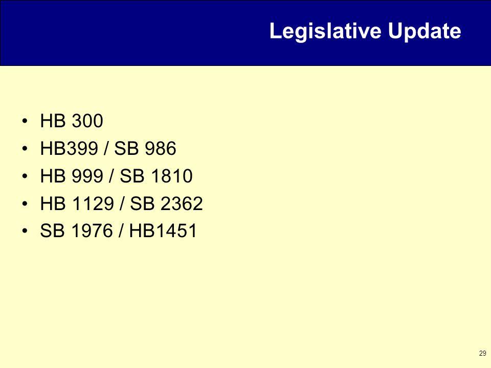 29 HB 300 HB399 / SB 986 HB 999 / SB 1810 HB 1129 / SB 2362 SB 1976 / HB1451 Legislative Update