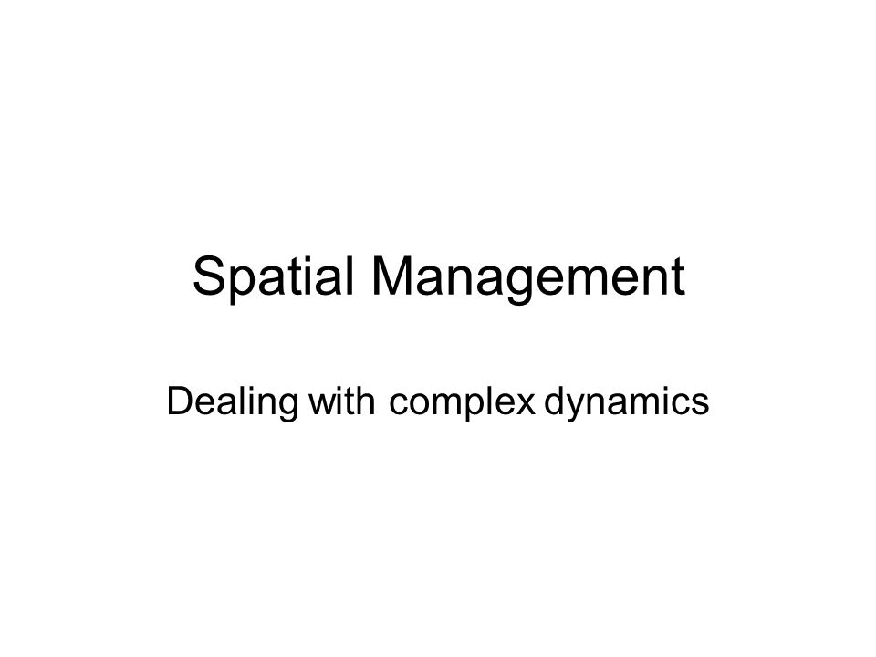 Spatial Management Dealing with complex dynamics