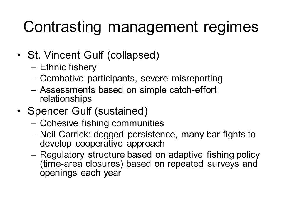 Contrasting management regimes St.