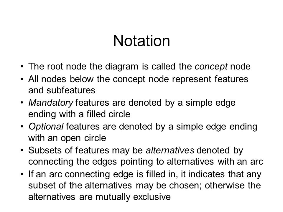 Notation The root node the diagram is called the concept node All nodes below the concept node represent features and subfeatures Mandatory features are denoted by a simple edge ending with a filled circle Optional features are denoted by a simple edge ending with an open circle Subsets of features may be alternatives denoted by connecting the edges pointing to alternatives with an arc If an arc connecting edge is filled in, it indicates that any subset of the alternatives may be chosen; otherwise the alternatives are mutually exclusive