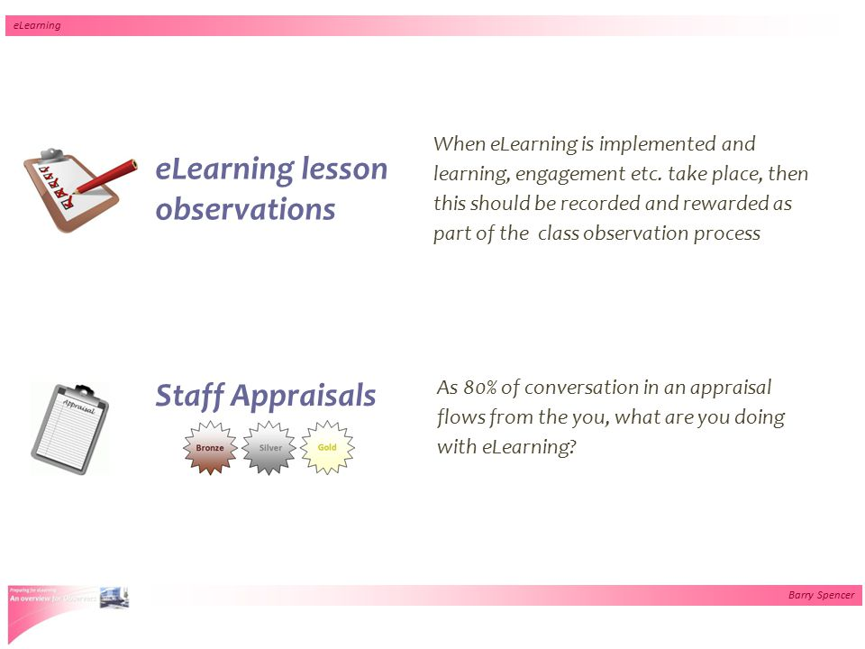 Barry Spencer eLearning eLearning lesson observations When eLearning is implemented and learning, engagement etc. take place, then this should be reco