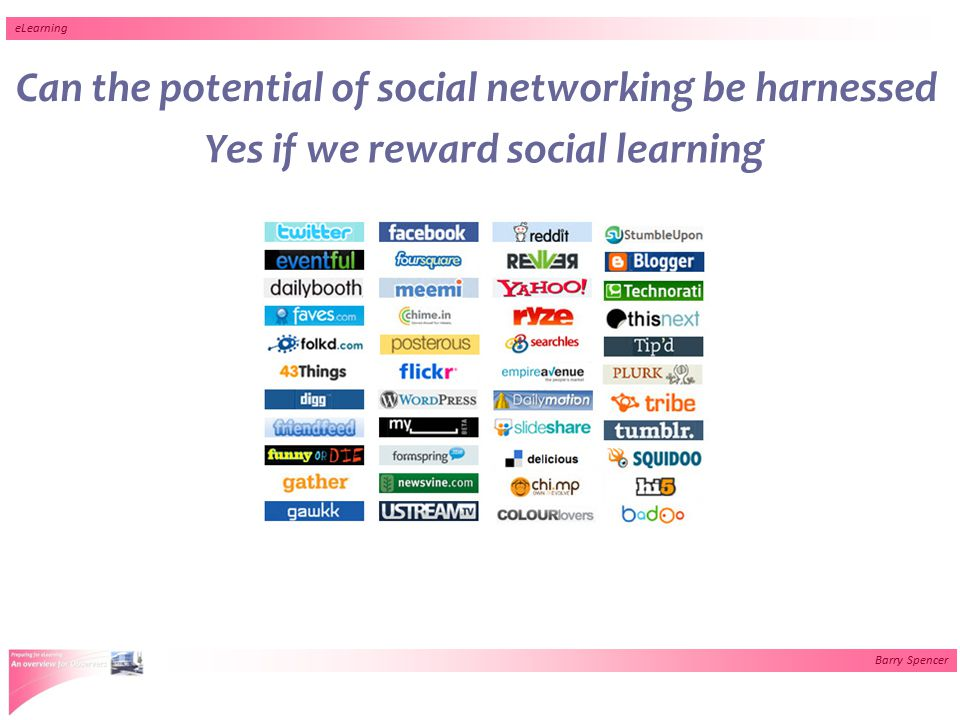 Barry Spencer eLearning Can the potential of social networking be harnessed Yes if we reward social learning