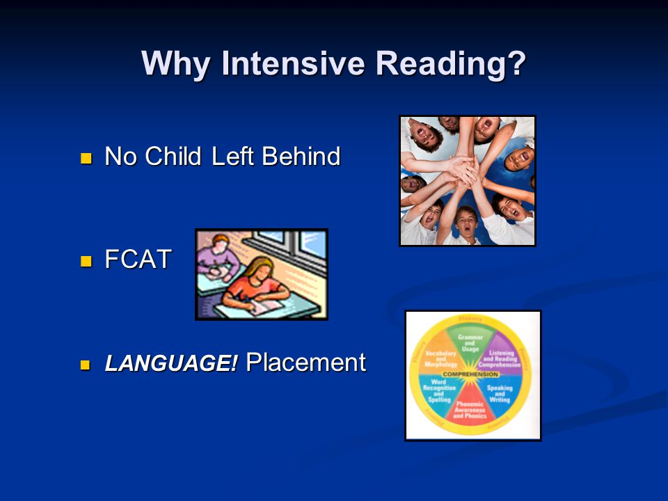 Why Intensive Reading. No Child Left Behind No Child Left Behind FCAT FCAT LANGUAGE.