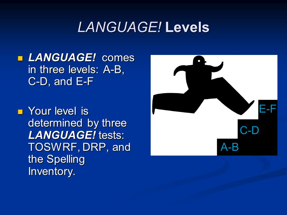 LANGUAGE. Levels LANGUAGE. comes in three levels: A-B, C-D, and E-F LANGUAGE.