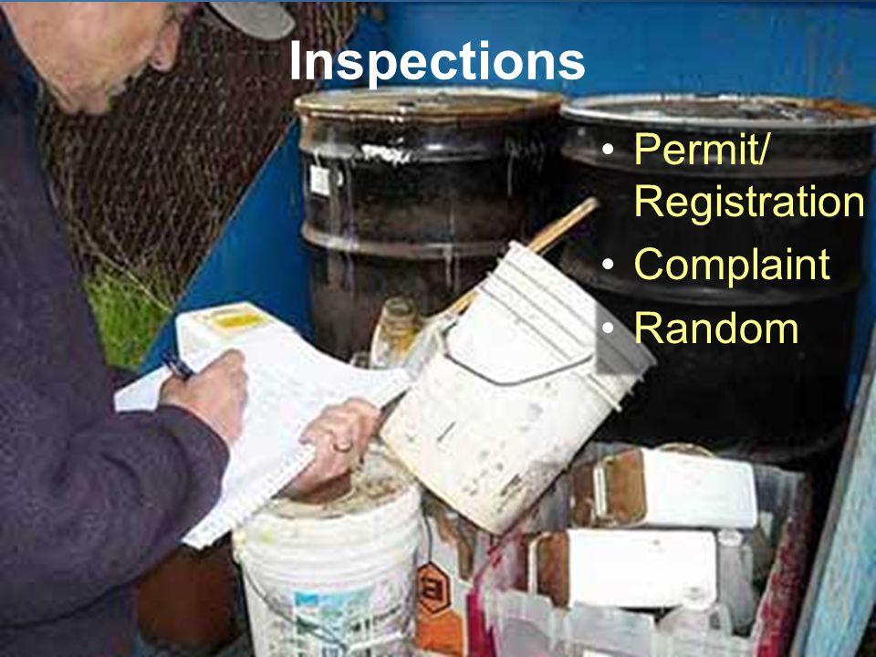 Inspections Permit/ Registration Complaint Random