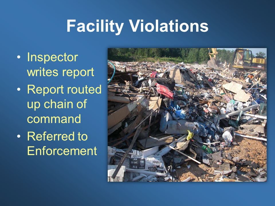 Facility Violations Inspector writes report Report routed up chain of command Referred to Enforcement