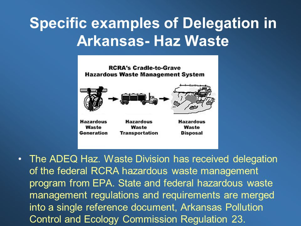 Specific examples of Delegation in Arkansas- Haz Waste The ADEQ Haz.