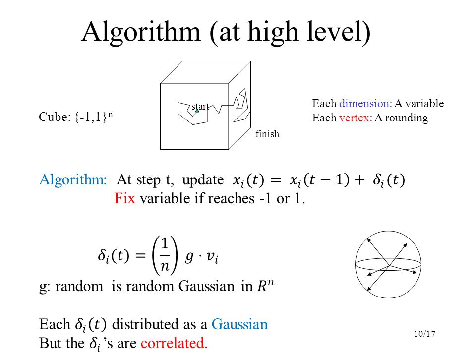 10/17 Algorithm (at high level) Cube: {-1,1} n start finish Each dimension: A variable Each vertex: A rounding