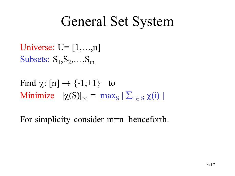 3/17 General Set System Universe: U= [1,…,n] Subsets: S 1,S 2,…,S m Find  : [n] .